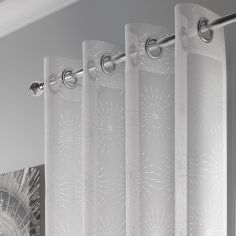 Leah Ring Top Voile Curtain Panel - White Silver