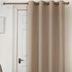 Self-Lined Thermal Blackout Linen Look Ring Top Door Curtain - Natural