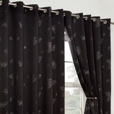 Butterfly Diamante Eyelet Thermal Blackout Curtains - Black