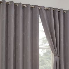 Butterfly Diamante Eyelet Thermal Blackout Curtains - Silver