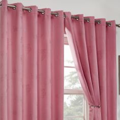 Butterfly Diamante Eyelet Thermal Blackout Curtains - Pink