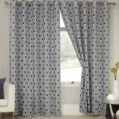 Kampala Geometric Eyelet Thermal Blackout Curtains - Silver