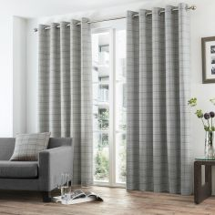 Burton Check Eyelet Ring Top Fully Lined Curtains - Charcoal Grey