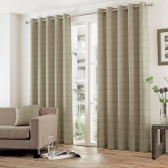 Burton Check Eyelet Ring Top Fully Lined Curtains - Natural Cream