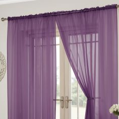 Lucy Slot Top Pair of Voile Curtains - Aubergine Purple