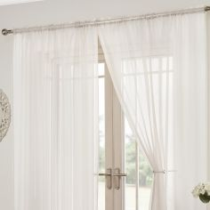 Lucy Slot Top Pair of Voile Curtains - White