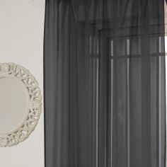 Lucy Eyelet Ring Top Voile Curtain Panel - Black