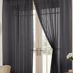 Lucy Eyelet Ring Top Pair of Voile Curtains - Black