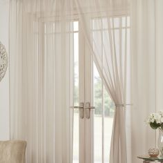 Lucy Eyelet Ring Top Pair of Voile Curtains - Natural Cream