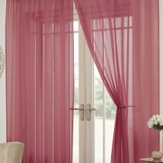 Lucy Eyelet Ring Top Pair of Voile Curtains - Red