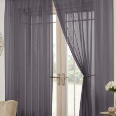 Lucy Eyelet Ring Top Pair of Voile Curtains - Silver Grey