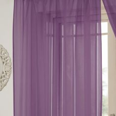 Lucy Eyelet Ring Top Voile Curtain Panel - Aubergine Purple