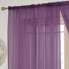 Lucy Slot Top Voile Curtain Panel - Aubergine Purple