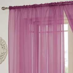 Lucy Slot Top Voile Curtain Panel - Cerise Pink
