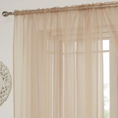 Lucy Slot Top Voile Curtain Panel - Coffee Beige