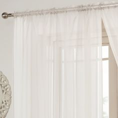 Lucy Slot Top Voile Curtain Panel - White