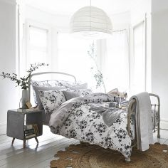 Bianca 100% Cotton Soft Sprig Floral Duvet Cover Set - Grey