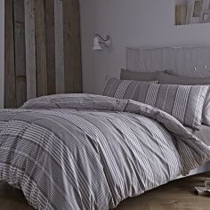 Bianca 100% Cotton Soft Stripe Check Duvet Cover Set - Grey