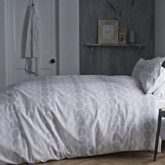Bianca 100% Cotton Soft Print Duvet Cover Set - Grey