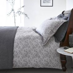 Bianca 100% Cotton Soft Sprig Jacquard Duvet Cover Set - Grey