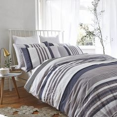 Bianca 100% Cotton Soft Seersucker Stripe Duvet Cover Set - Multi