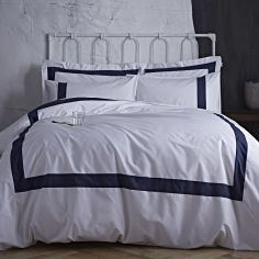 Bianca 100% Cotton Soft Tailored Duvet Cover Set - Navy