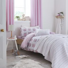 Kids Bianca 100% Cotton Soft Owl Print Duvet Cover Set - Blush Pink