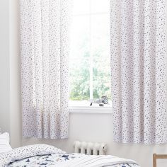 Kids Bianca 100% Cotton Soft Star Print Ring Top Lined Curtains - Blue