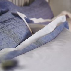 Bianca Cotton Soft Chambray Pleats Oxford Quilted Pillowsham - Blue