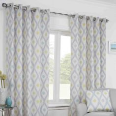 Bordeaux Geometric Fully Lined Ring Top Curtains - Duck Egg Blue