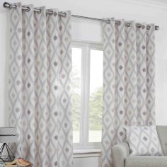 Bordeaux Geometric Fully Lined Ring Top Curtains - Natural