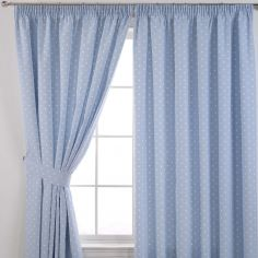 Dotty Tape Top Thermal Blackout Curtains - Powder Blue