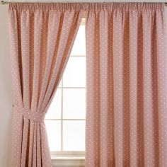 Dotty Tape Top Thermal Blackout Curtains - Rose Pink