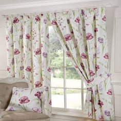 Ellie Floral Tape Top Curtains - Red