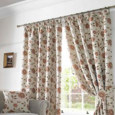 Hereford Woven Jacquard Floral Fully Lined Tape Top Curtains - Terracotta