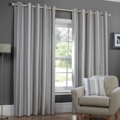 Monaco Striped Fully Lined Ring Top Curtains - Charcoal Grey