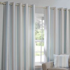 Monaco Striped Fully Lined Ring Top Curtains - Duck Egg Blue