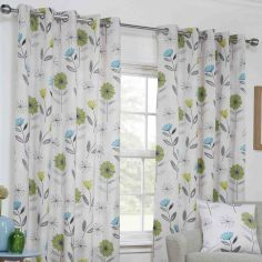 Monterey Floral Fully Lined Ring Top Curtains - Lime Green