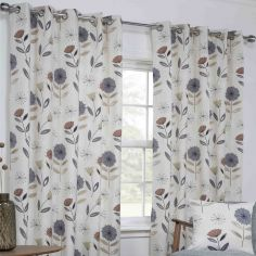 Monterey Floral Fully Lined Ring Top Curtains - Natural
