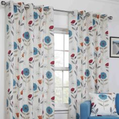 Monterey Floral Fully Lined Ring Top Curtains - Teal Blue