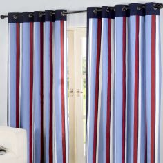 Padstow Striped Fully Lined Ring Top Curtains - Blue Red