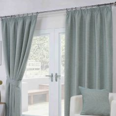 Paloma Woven Fully Lined Tape Top Curtains - Duck Egg Blue