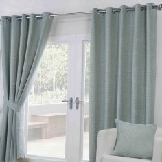Paloma Woven Fully Lined Ring Top Curtains - Duck Egg Blue