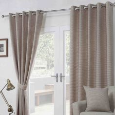 Paloma Woven Fully Lined Ring Top Curtains - Mocha