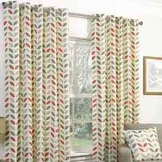 Neo Fully Lined Floral Ring Top Curtains - Mocha Orange