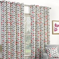 Neo Fully Lined Floral Ring Top Curtains - Grey Red