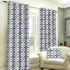 Tangiers Geometric Fully Lined Ring Top Curtains - Denim