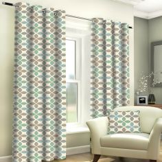 Tangiers Geometric Fully Lined Ring Top Curtains - Duck Egg Blue