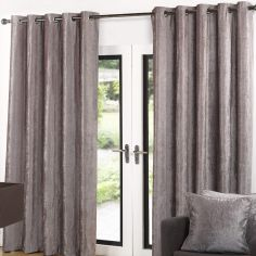 Luxury Velvet Fully Lined Ring Top Curtains - Latte Natural