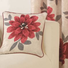 Isabel Floral Cushion Cover - Red